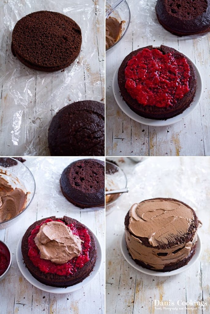 Chocolate Cake with Raspberry Filling - assemble