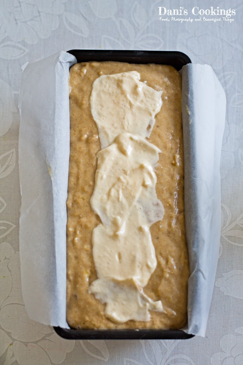Cream Cheese banana Bread - batter and filling in the pan