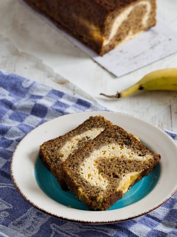 two slices of banana bread on a plate