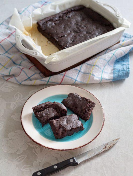 Vegan Black Bean Brownies served on a plate