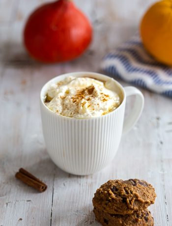 Pumpkin spice latte on a wooden table