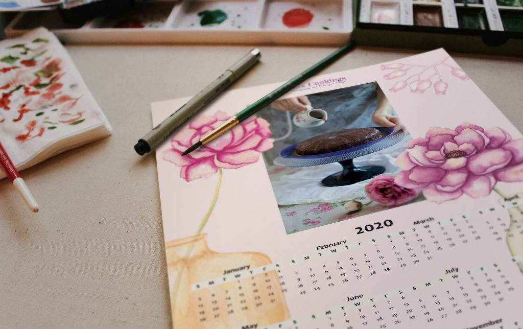 calendar on a table with watercolour