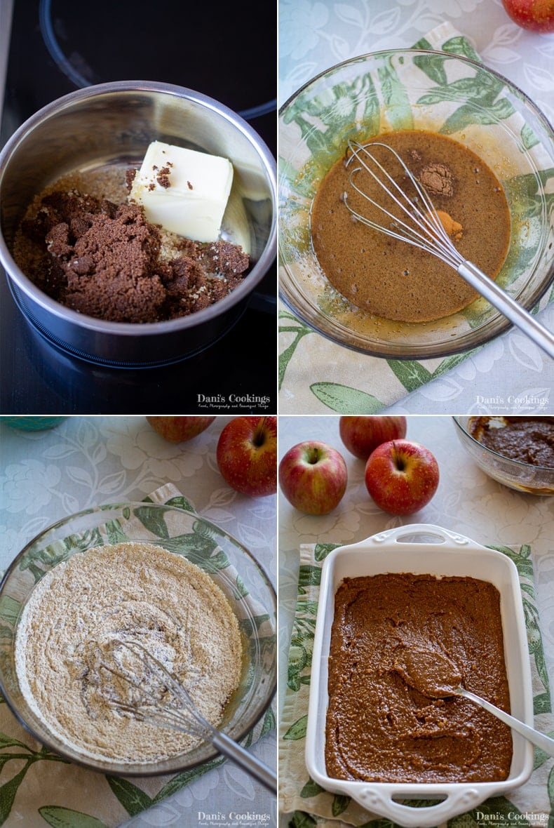 steps to make the cake: melt butter and sugar, whisk with eggs, add dry ingredients, spread in the pan
