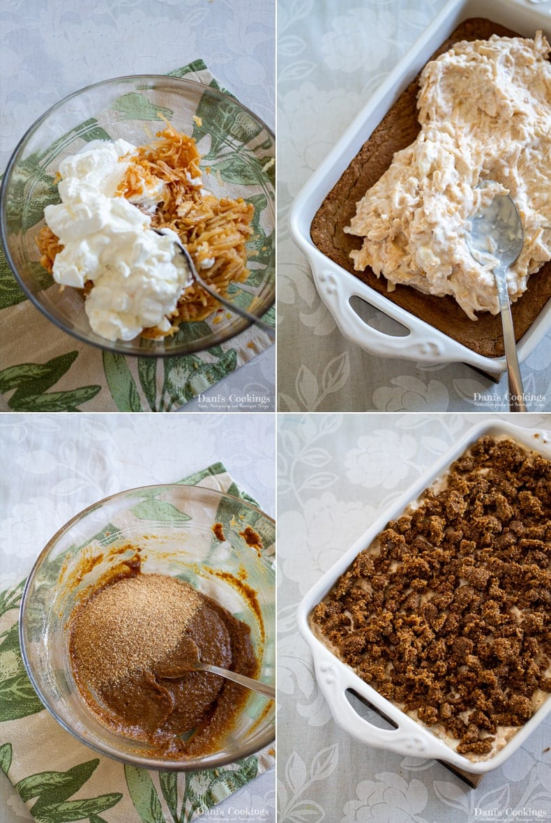 steps to make the second layer and crumbs: mix sour cream and apples, spread on the cake, make the crumbs