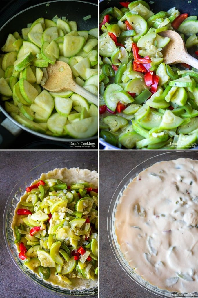 step by step Zucchini Quiche with Olive Oil Crust