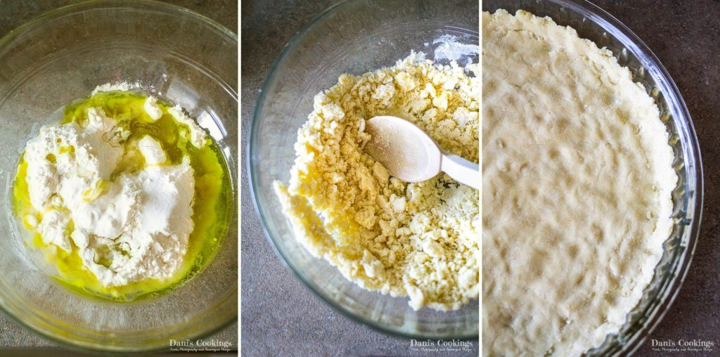 step by step olive oil dough and crust for zucchini quiche