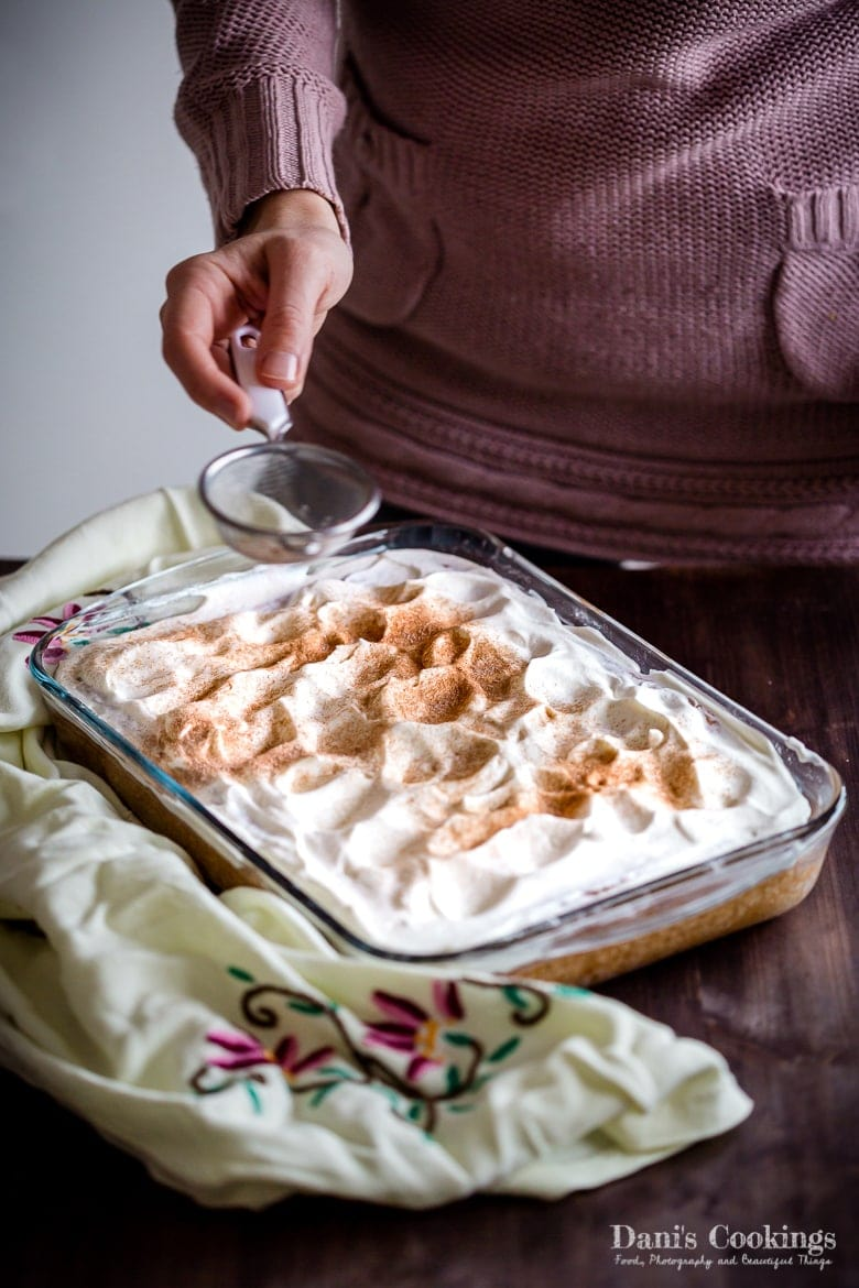 Easy Tres Leches Cake sprinkled with Cinnamon