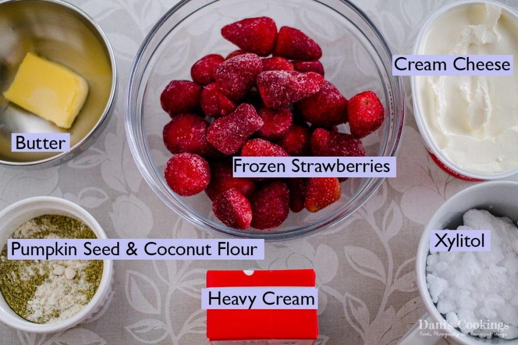 Ingredients for Keto Strawberry Cheesecake Ice Cream recipe