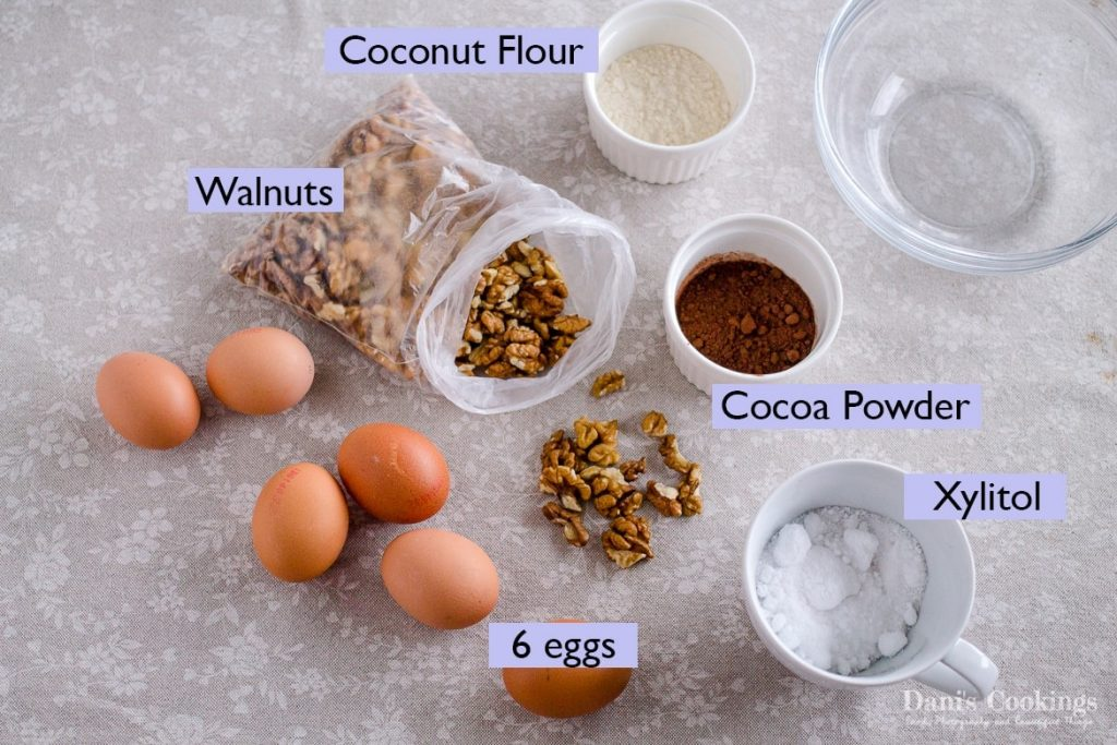 Ingredients for Keto Garash cake