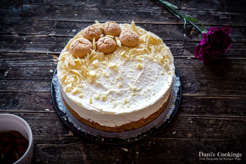 No Bake Amaretto Cheesecake on a wooden background