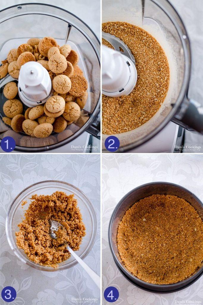 no bake Amaretto Cheesecake - step by step crust