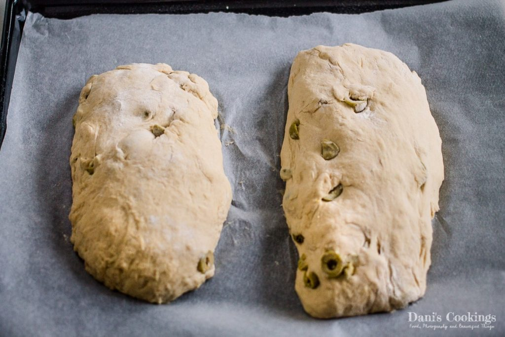Easy Rustic Olive Bread before being baked