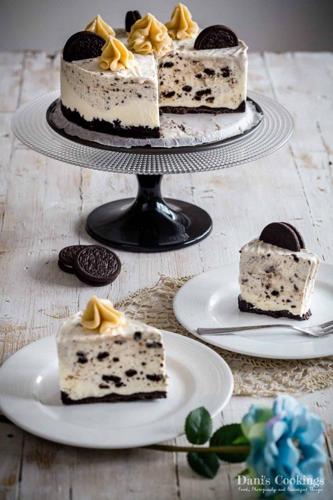 Oreo Cheesecake Ice Cream Cake sliced and served