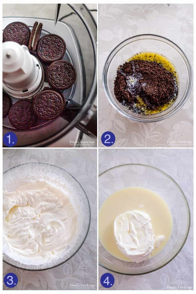 step by step Oreo Cheesecake Ice Cream Cake