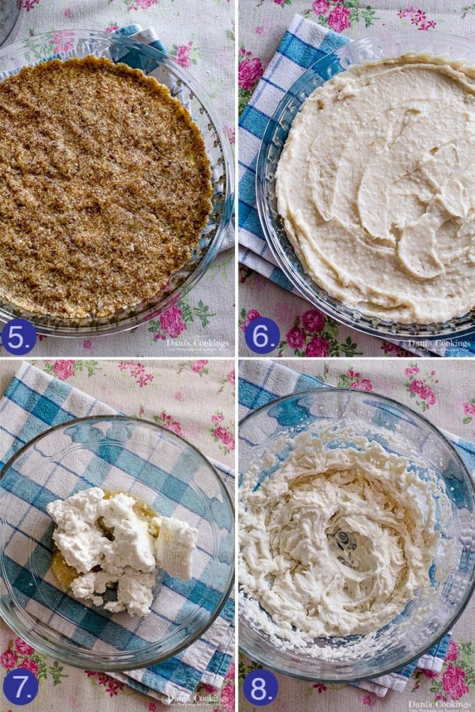 Vegan coconut cream pie step by step preparation