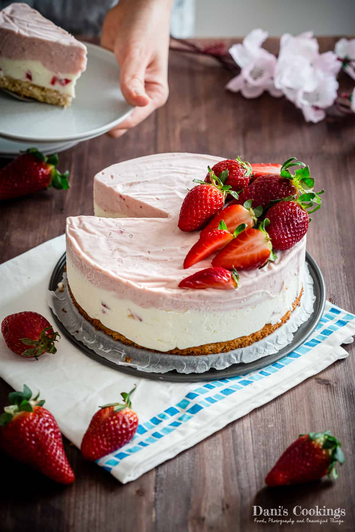 Strawberry Ice Cream Cake from scratch