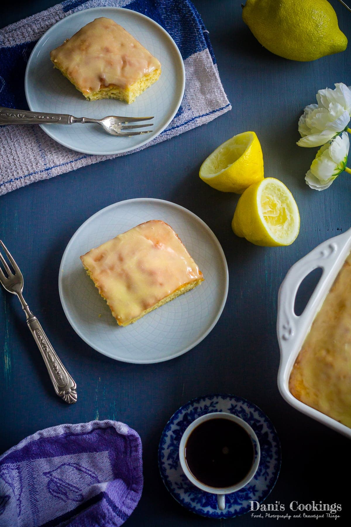 Lemony Lemon Brownies flat lay photo