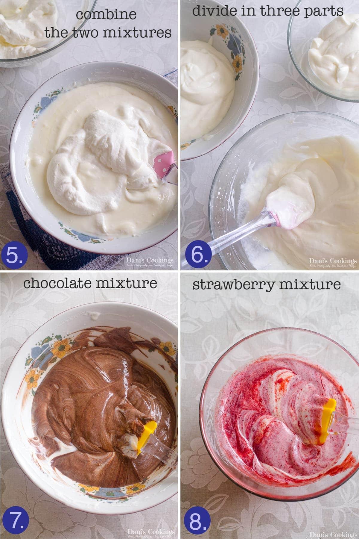 step by step making Neapolitan Ice Cream Cake