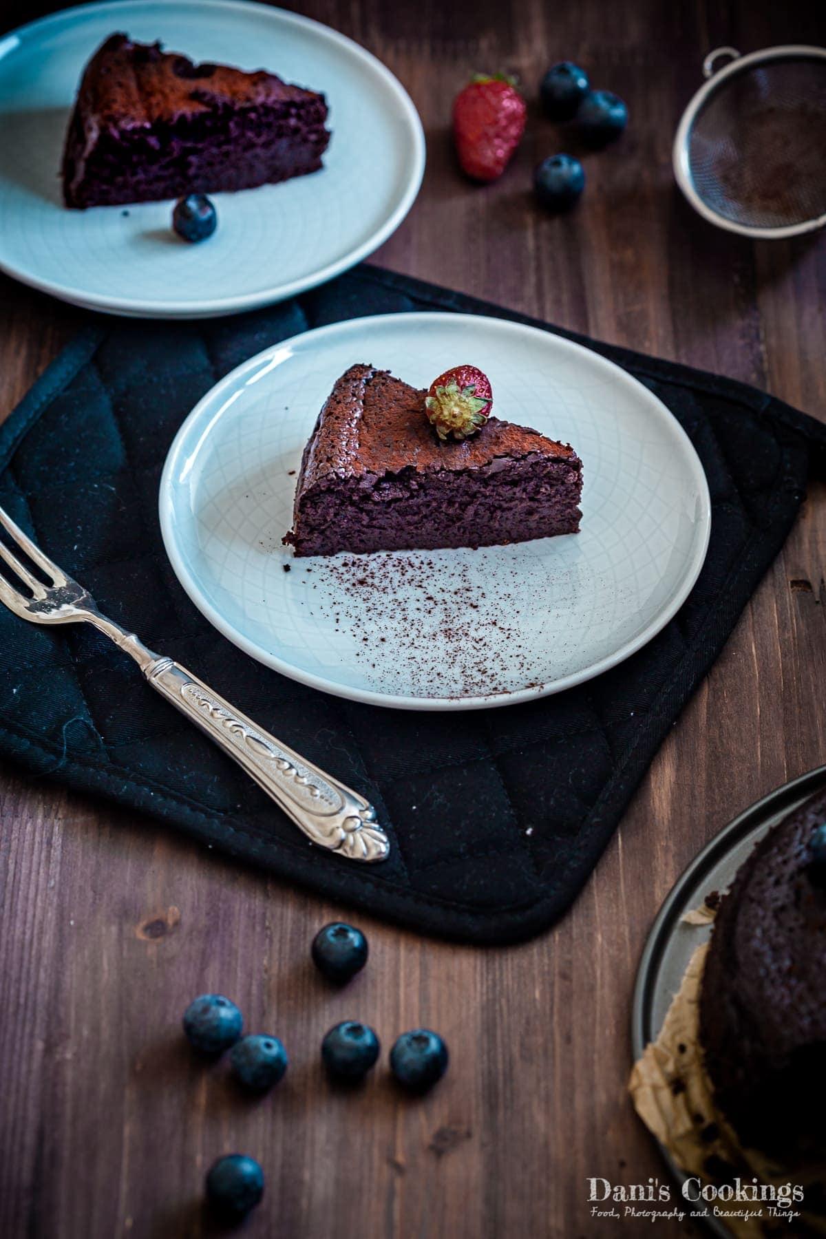 two slices of keto flourless cake