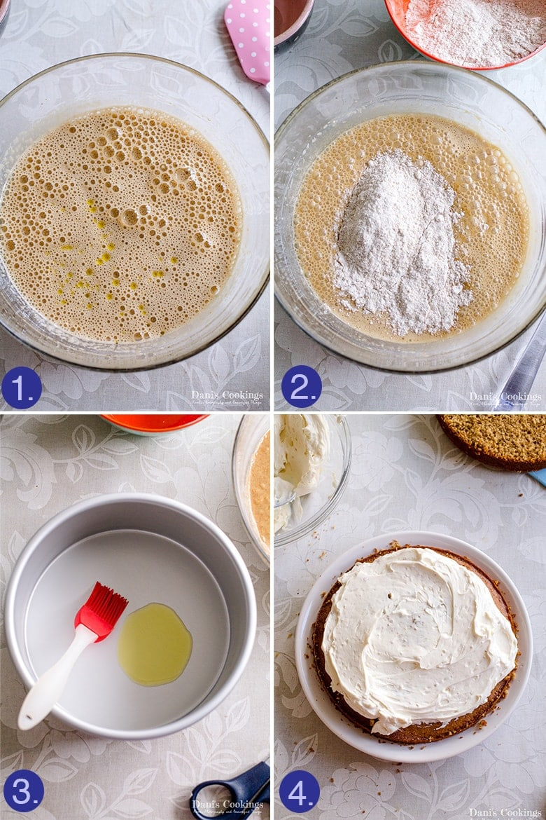 four images grid -making olive oil cake: batter, grease pan, frosting