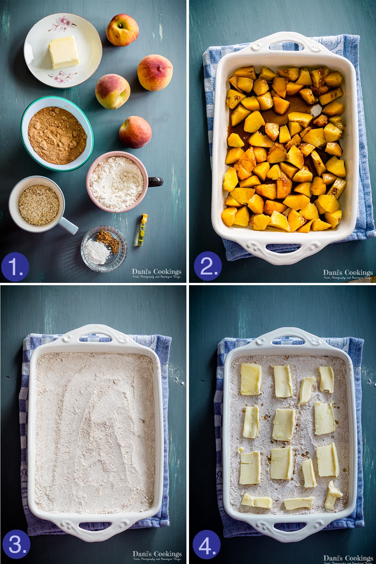 steps to make peach dump cake - ingredients and layering them in the pan