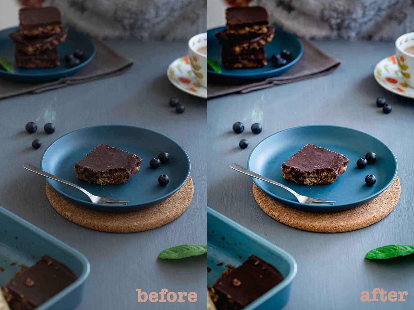 Before and after preset photo of cookie dough cake