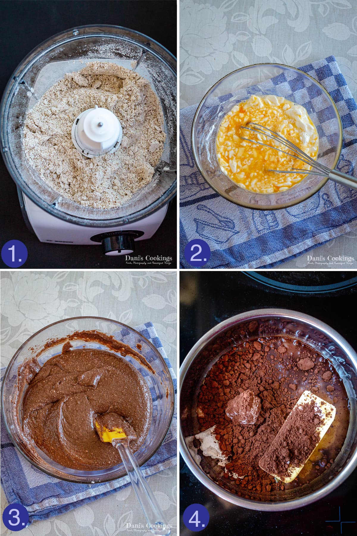 4 images: ground almonds, beaten eggs and sour cream, batter in a bowl and a pan with the glaze