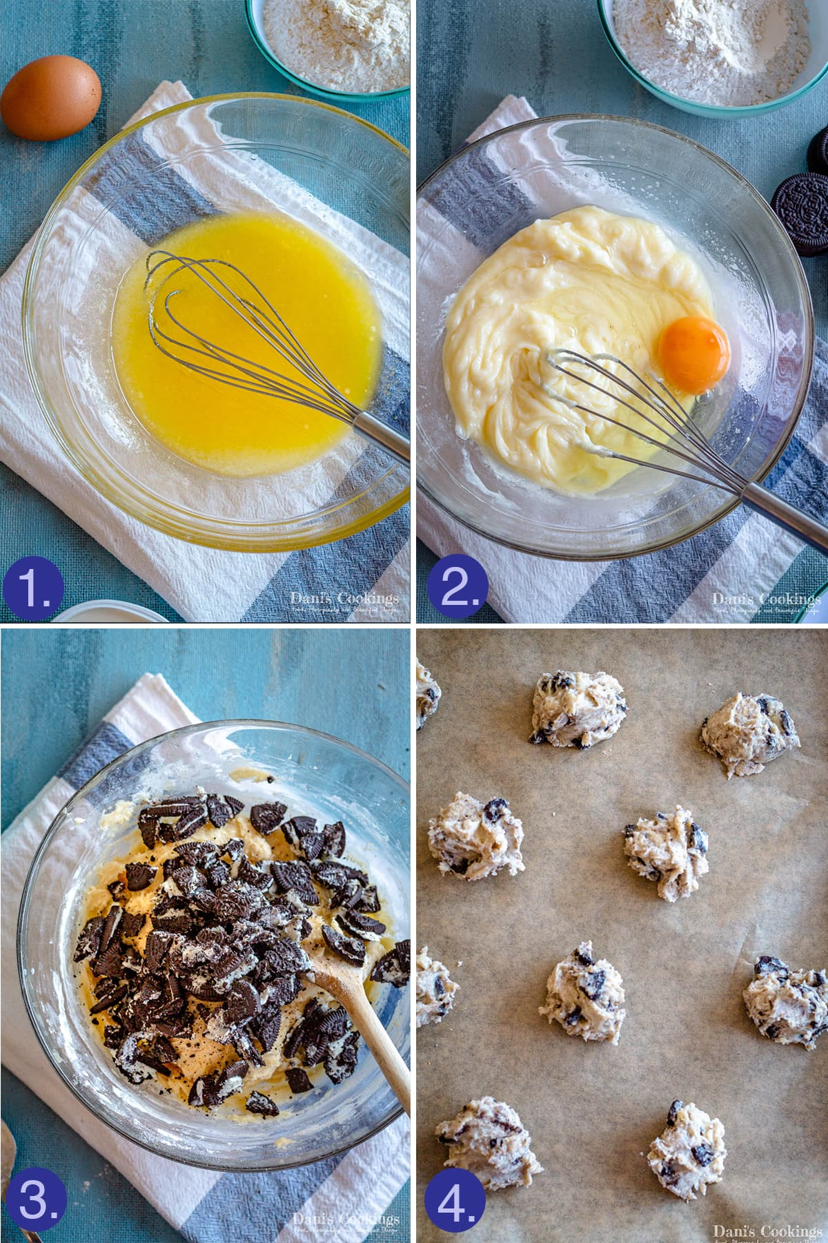 preparation steps: mix butter and sugar, mix in cream cheese and egg, mix in oreos and arrange the balls