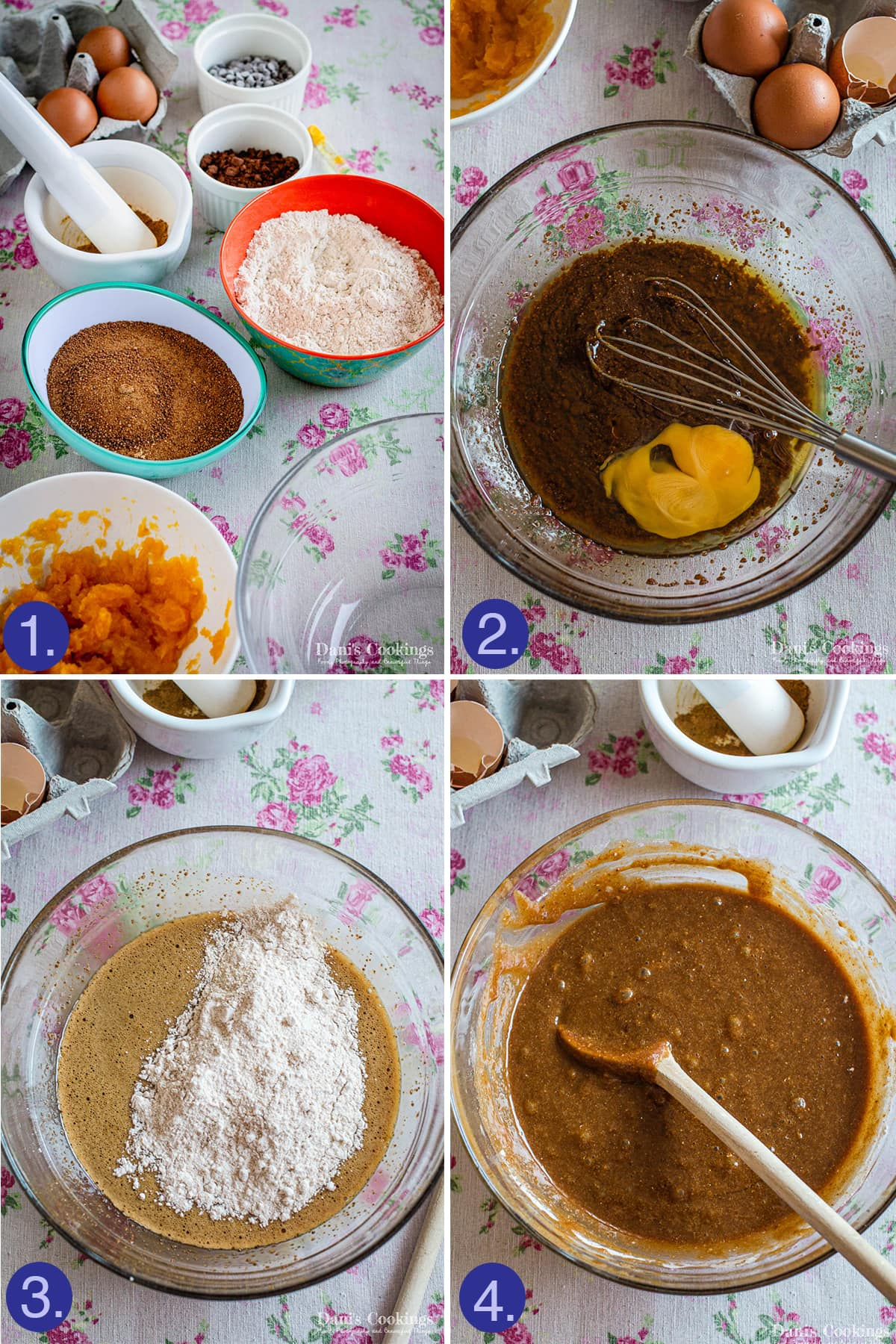 steps to make the dough of the pumpkin brownies