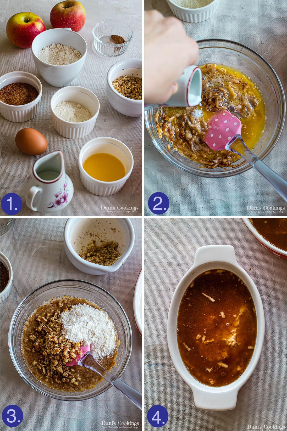 ingredients and steps to make apple caramel pudding