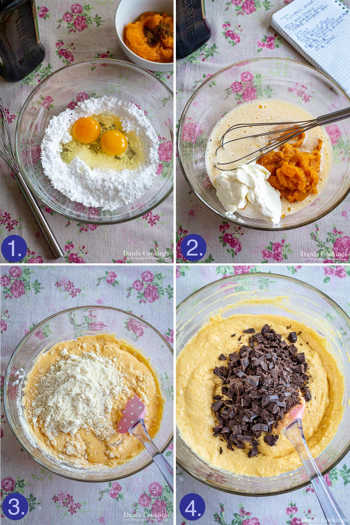 step by step making pumpkin bread batter
