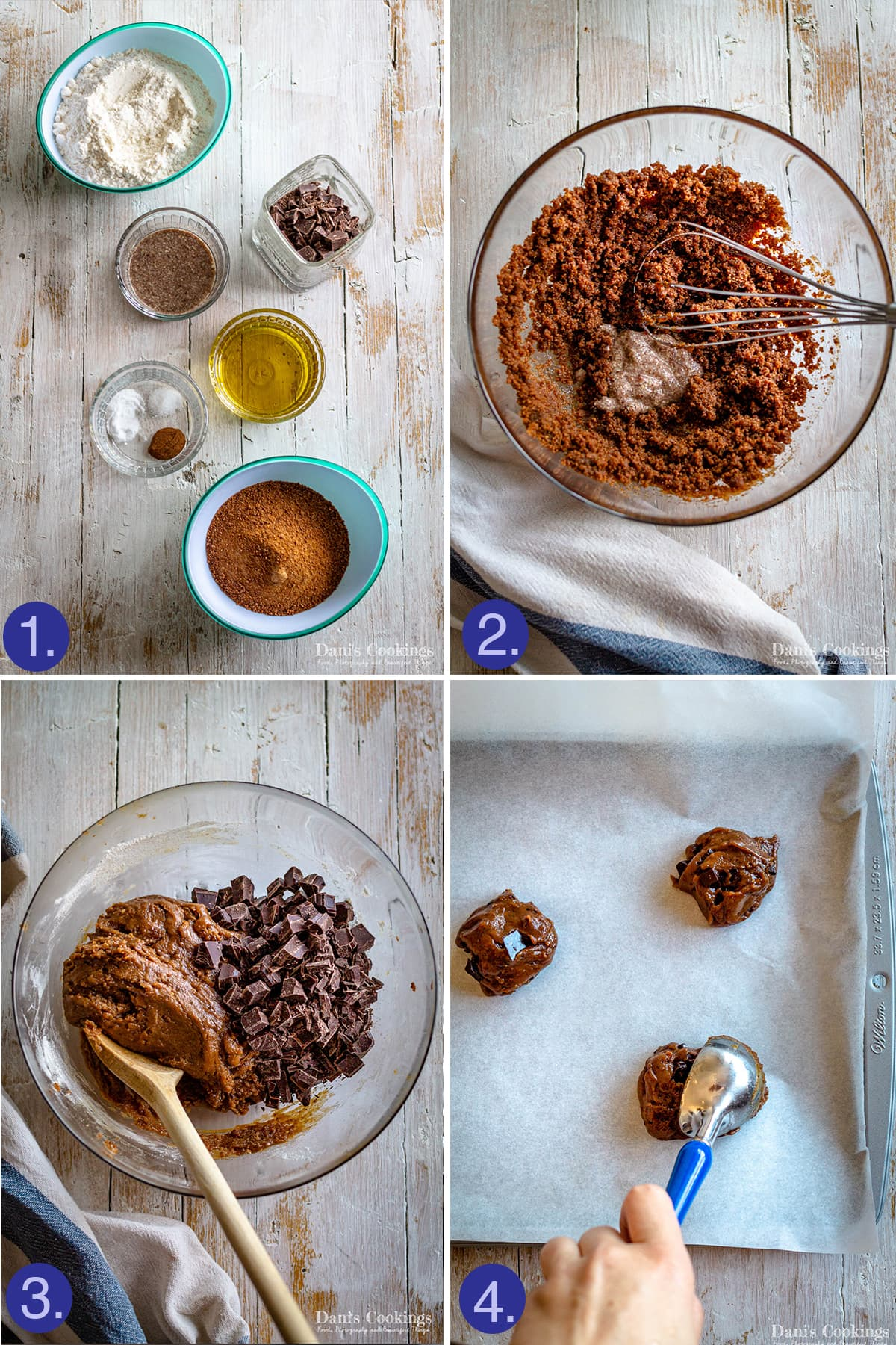 steps and ingredients to make vegan cookies