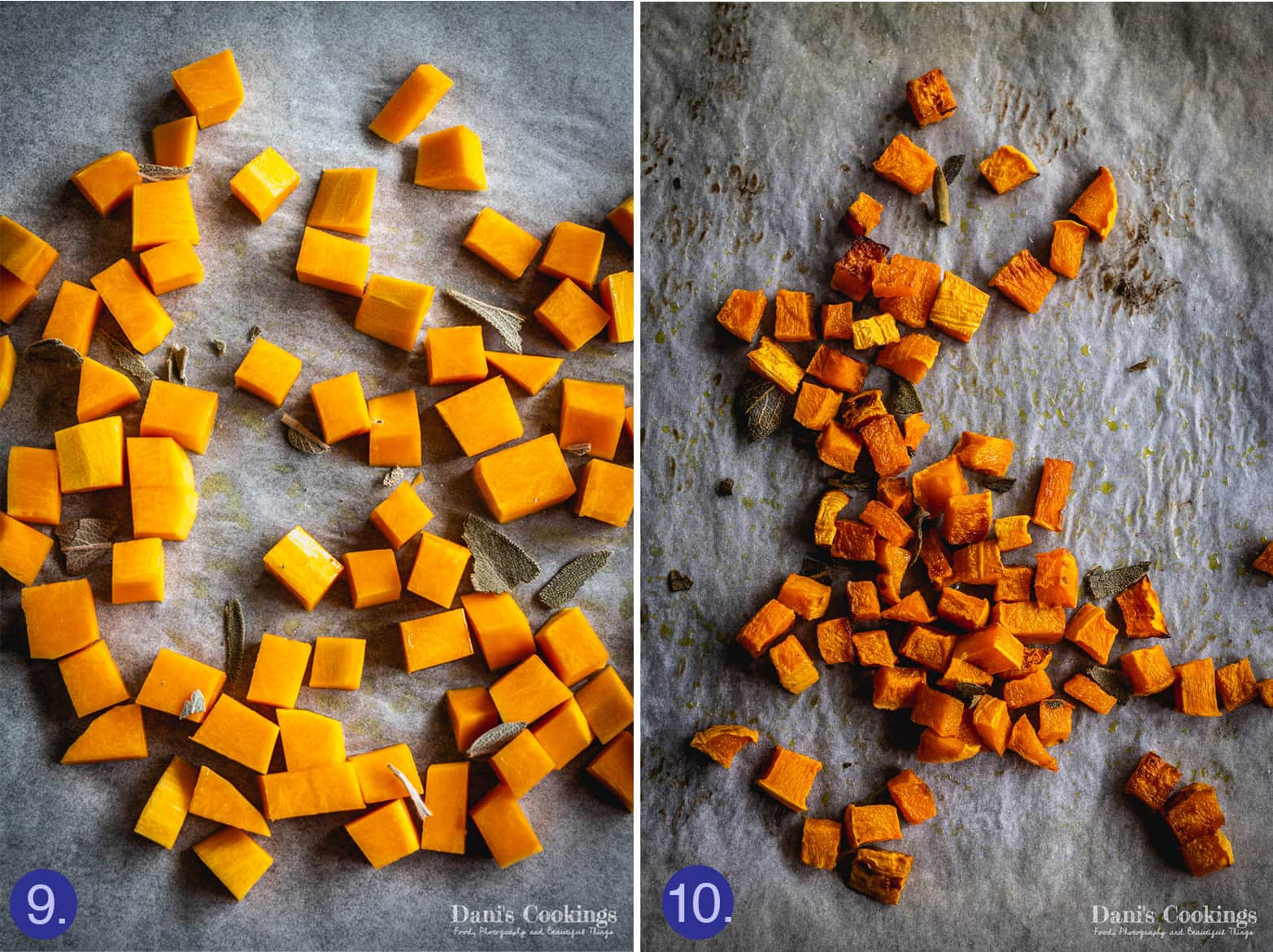pumpkin cubes before and after roasting