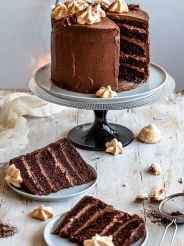 chocolate cake with meringues sliced