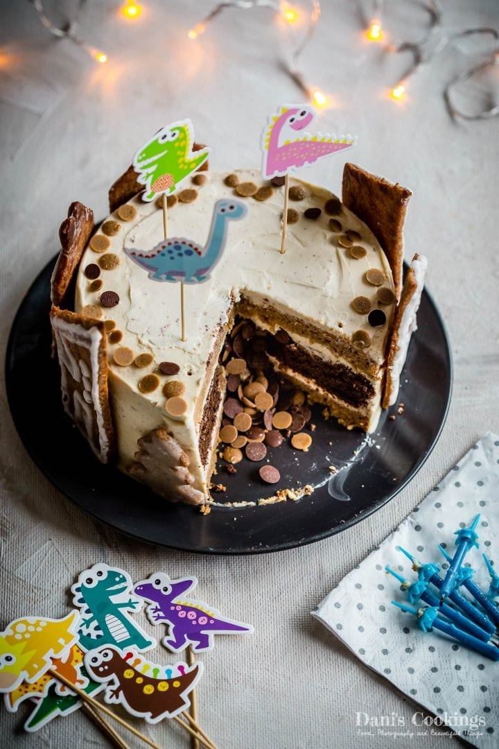 pinata cake cut and chocolate spilling from it
