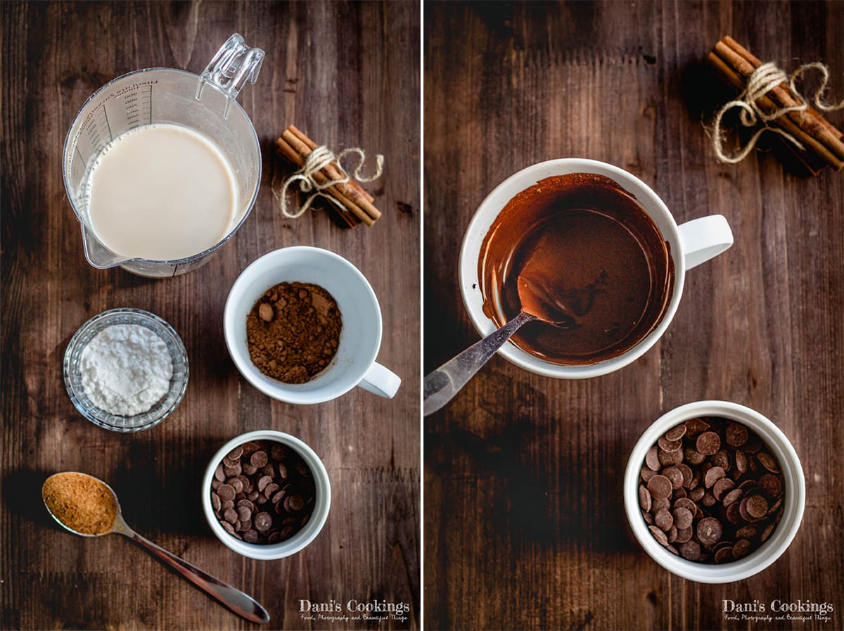 ingredients and making the vegan hot chocolate