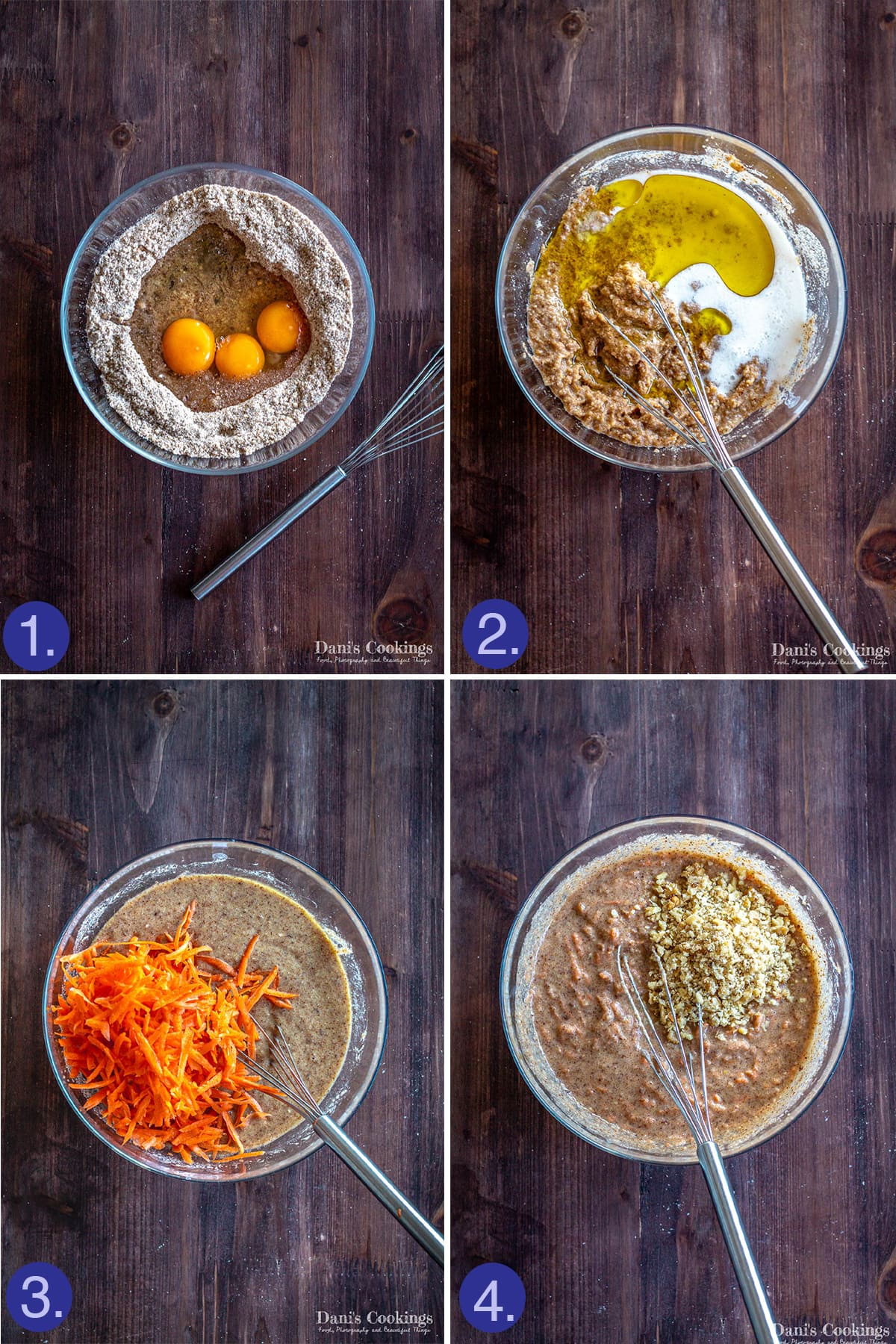 steps to prepare the carrot cake layers