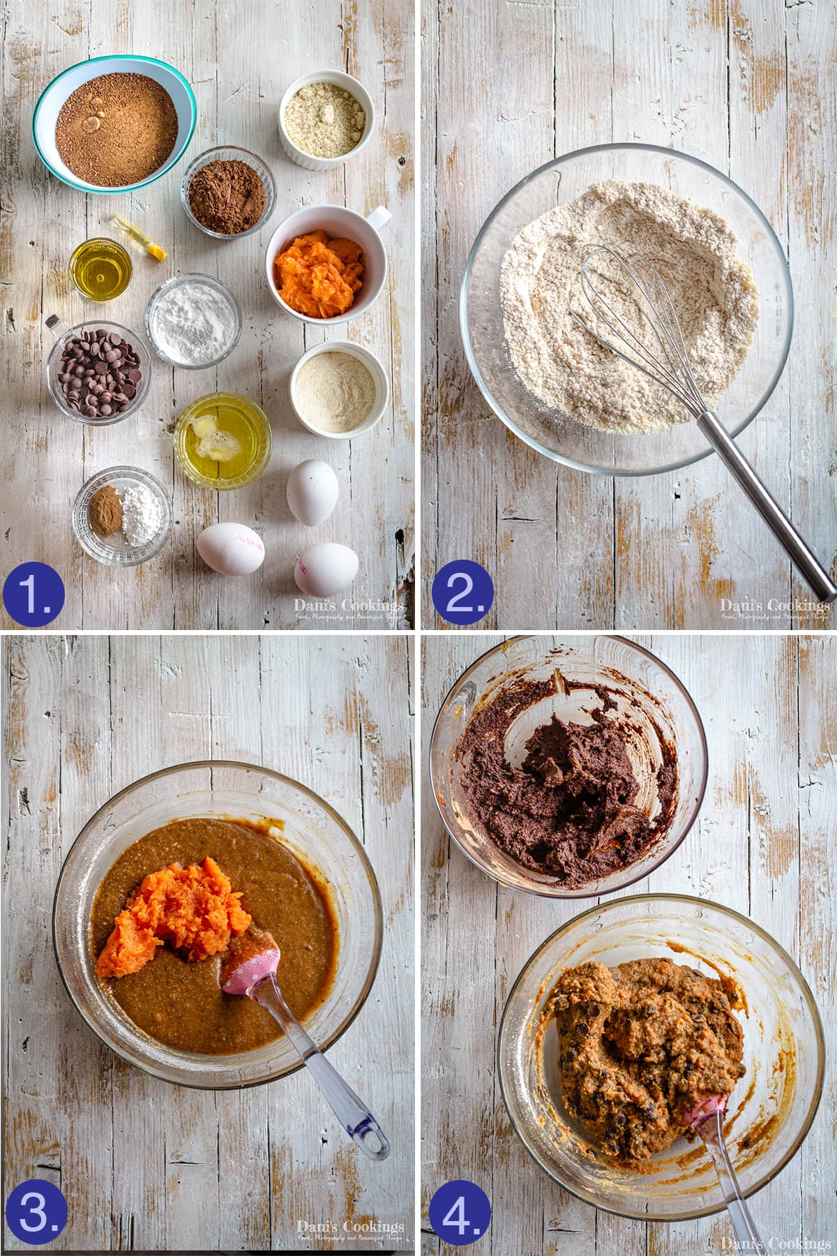 ingredients and steps to make sweet potato brownies batter