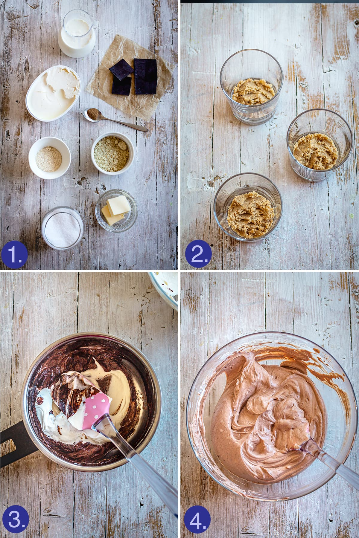 ingredients and main steps for chocolate cheesecake in glasses