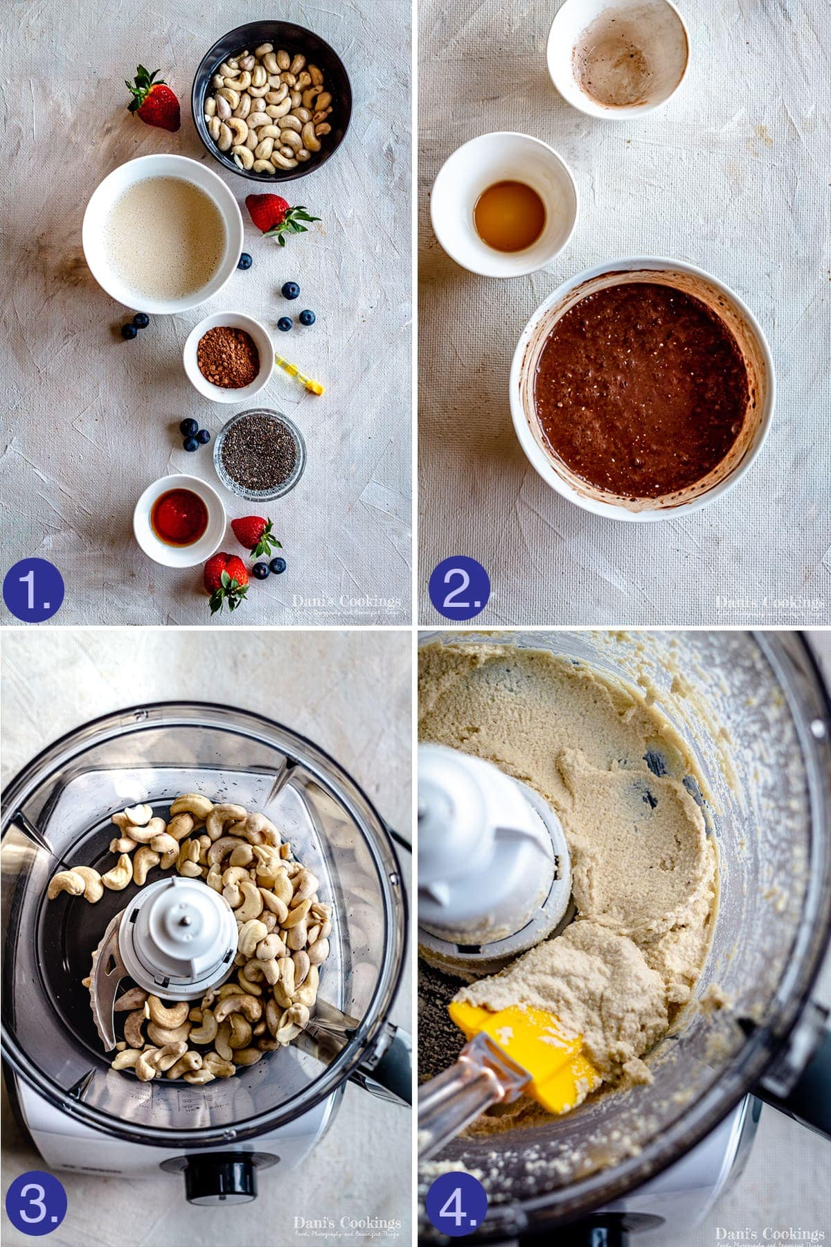 ingredients and steps to prepare the mixtures