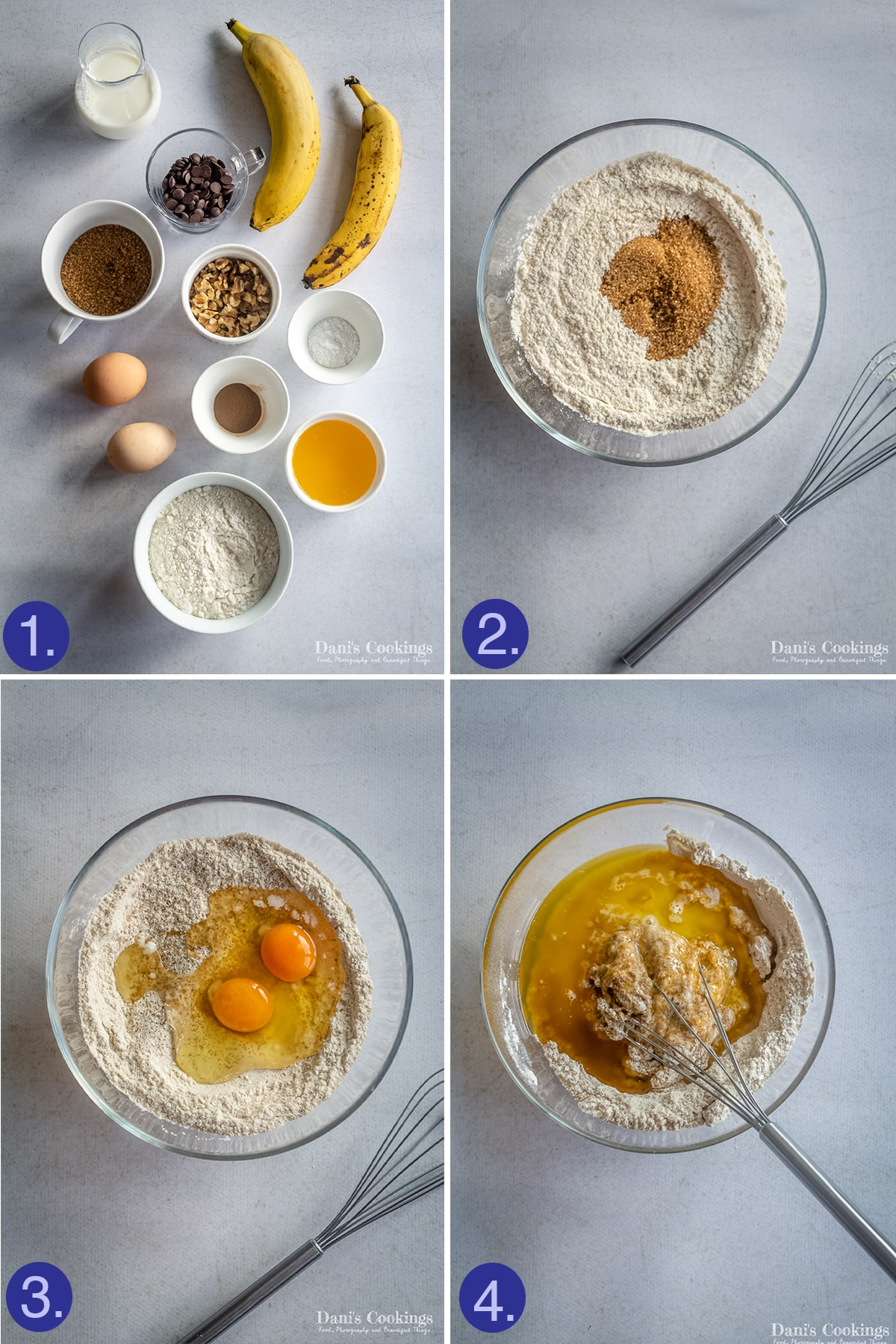 ingredients and first three steps to make banana bread