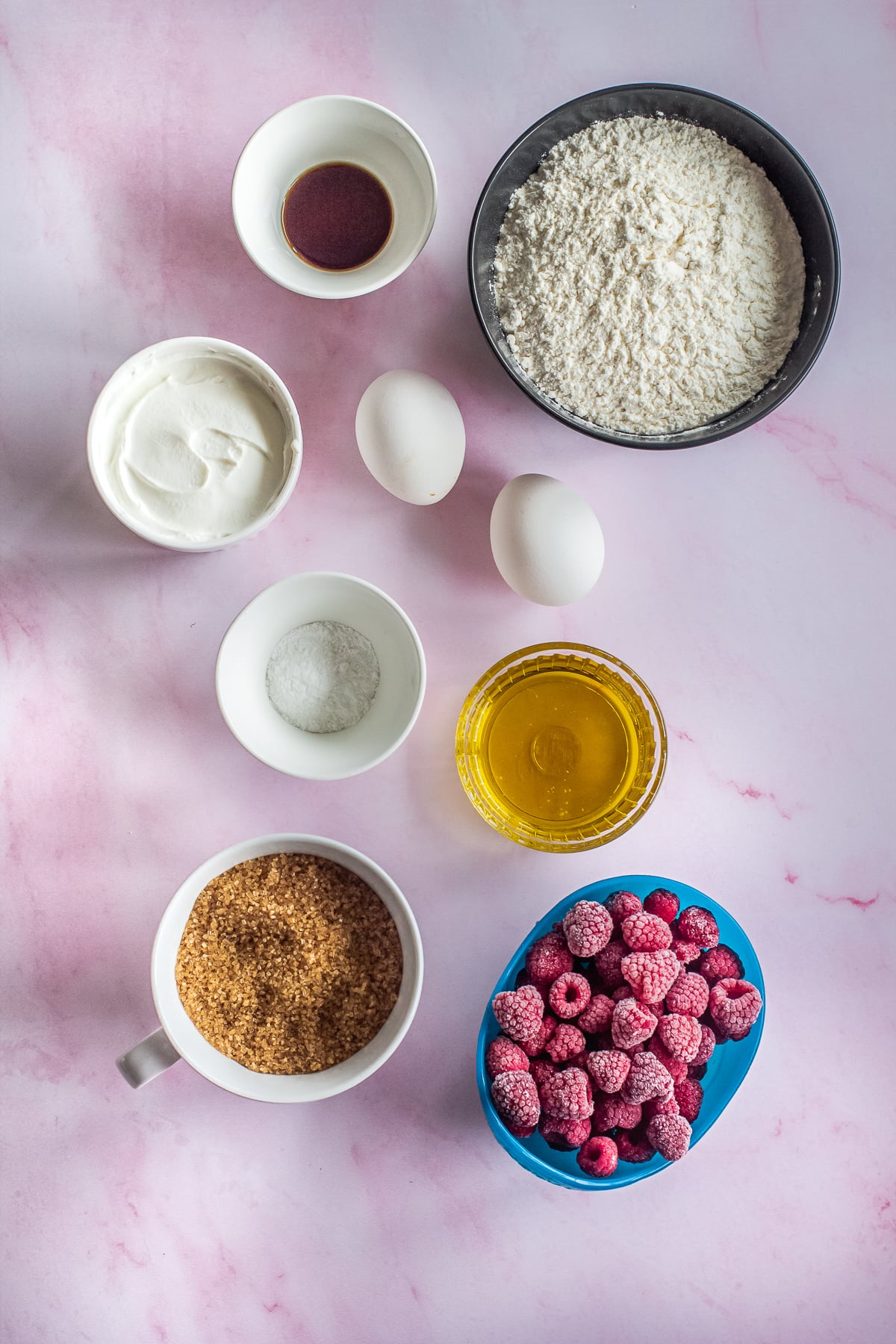 ingredients for raspberry bread