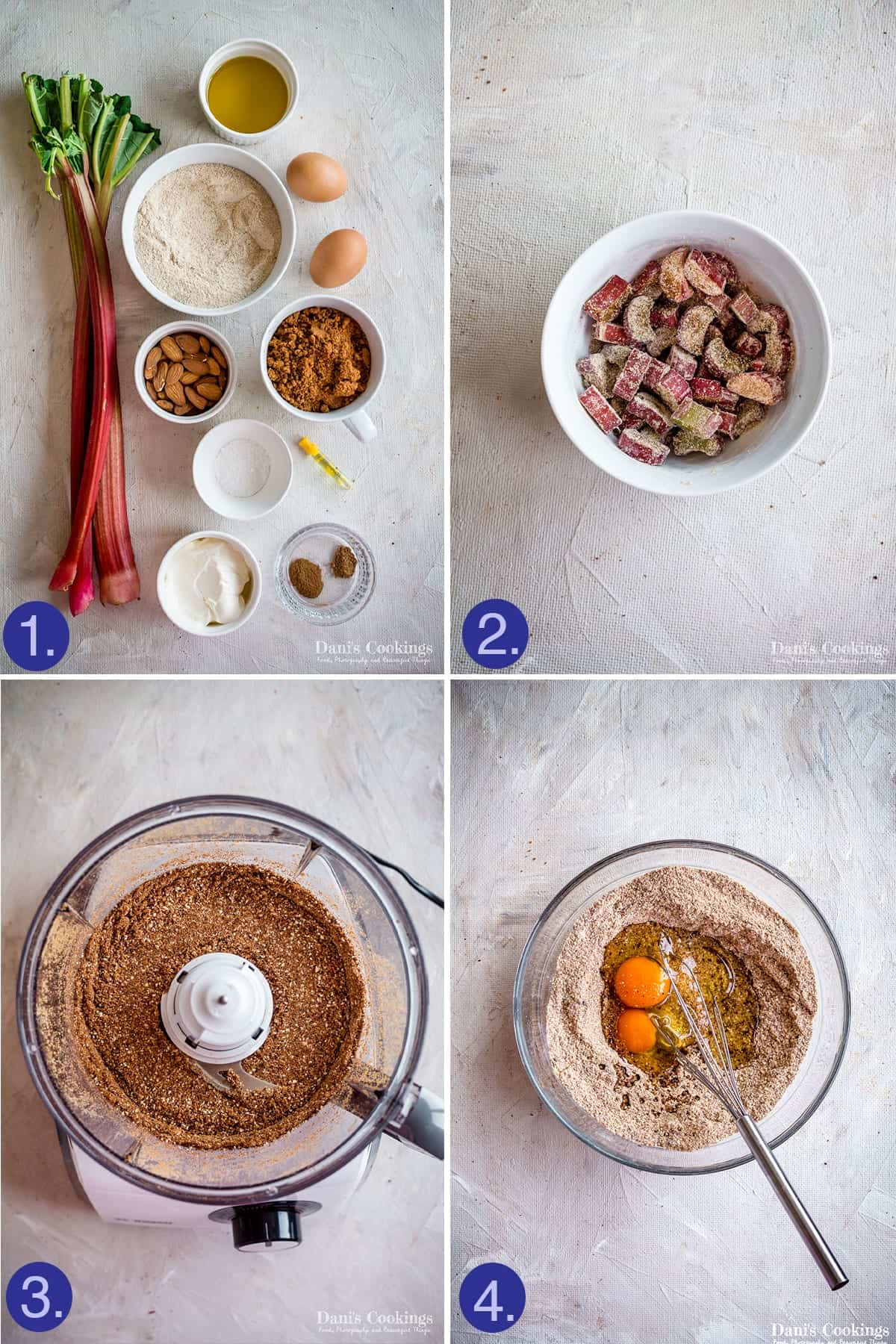 steps and ingredients for rhubarb cake