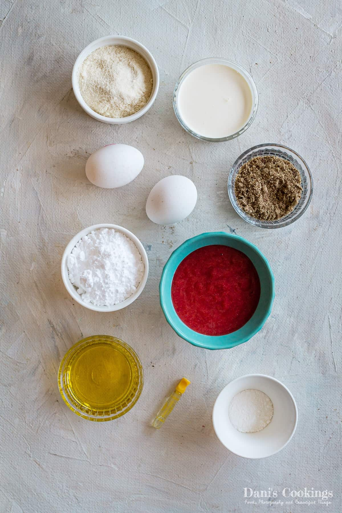 ingredients for the chocolate frosted keto strawberry cupcakes