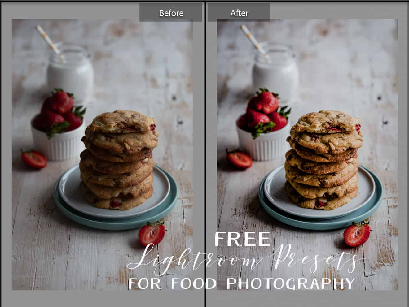 before and after a photo of cookies from lightroom
