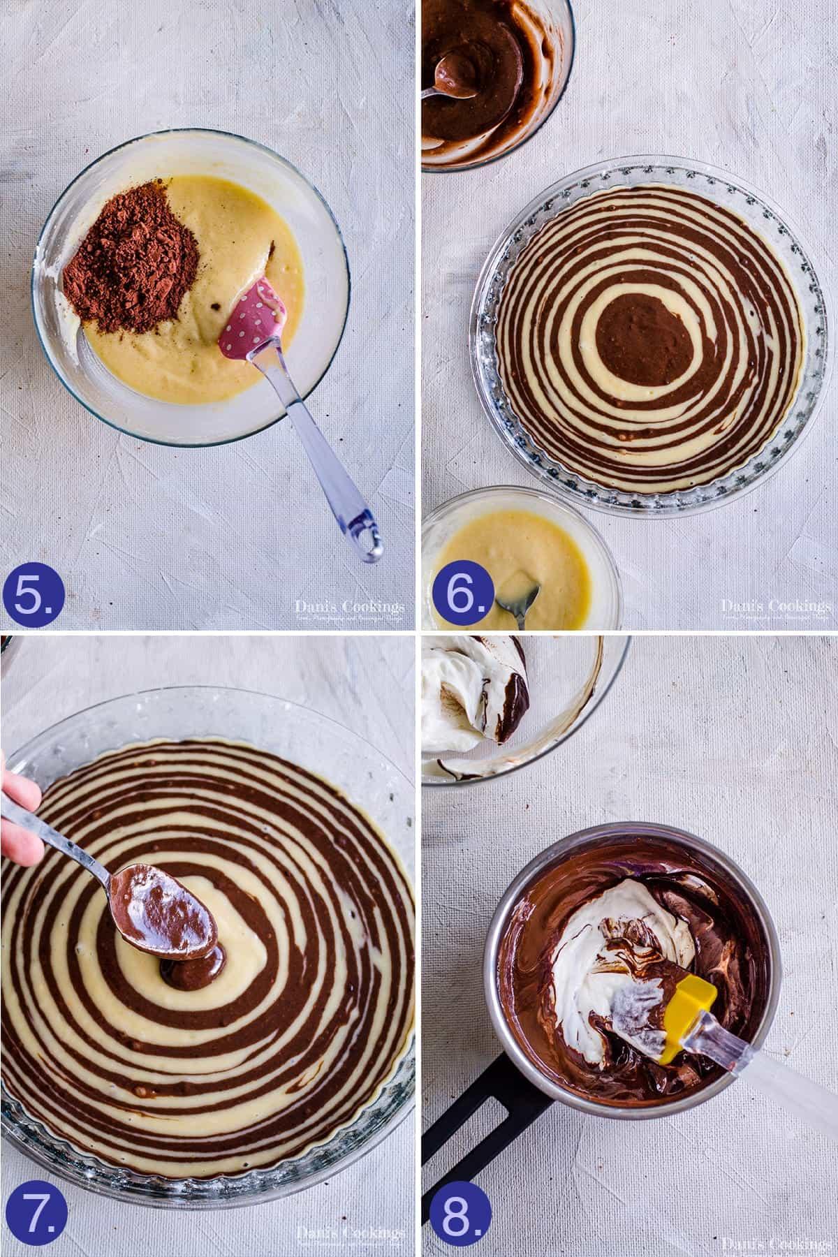 steps to make the stripes and the glaze