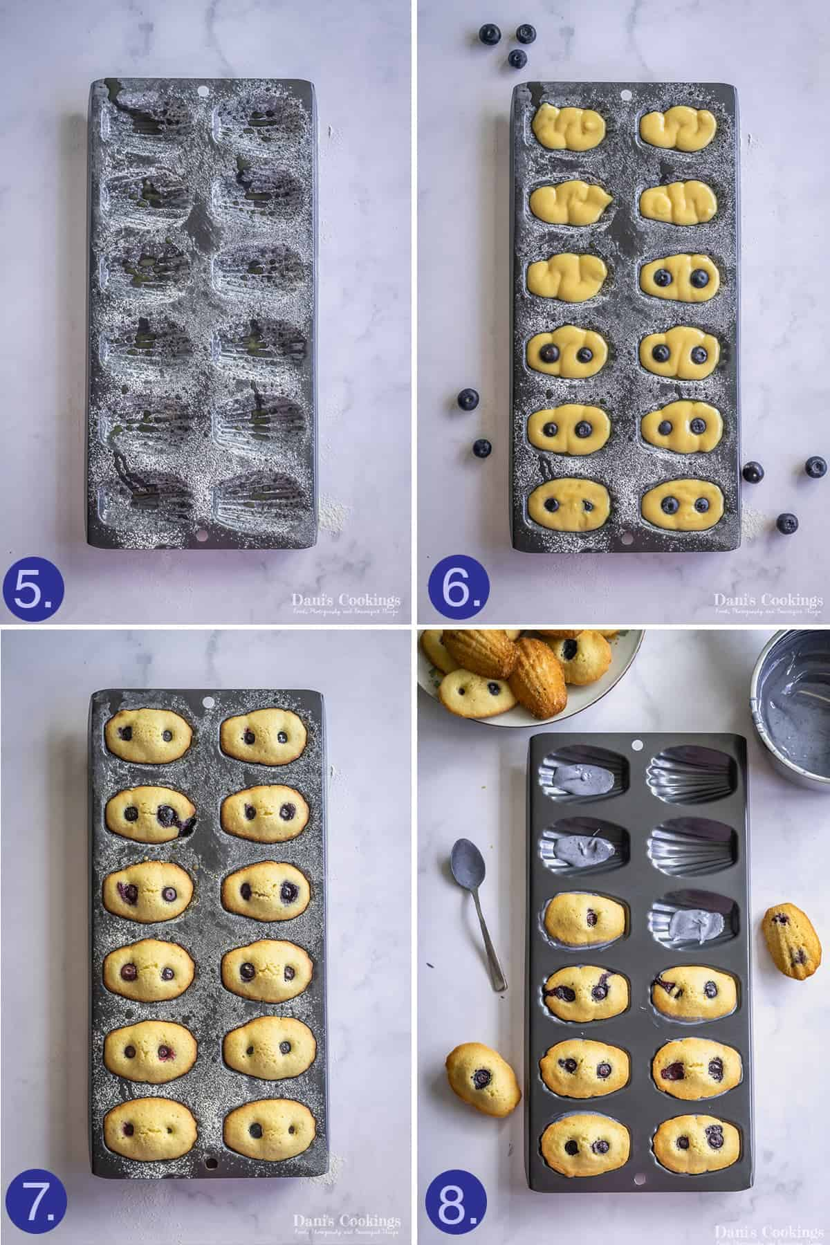steps to assemble the madeleines in a pan