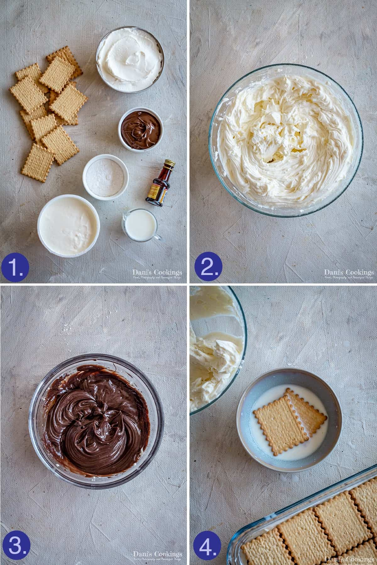 steps and ingredients to make the frosting and dip the biscuits