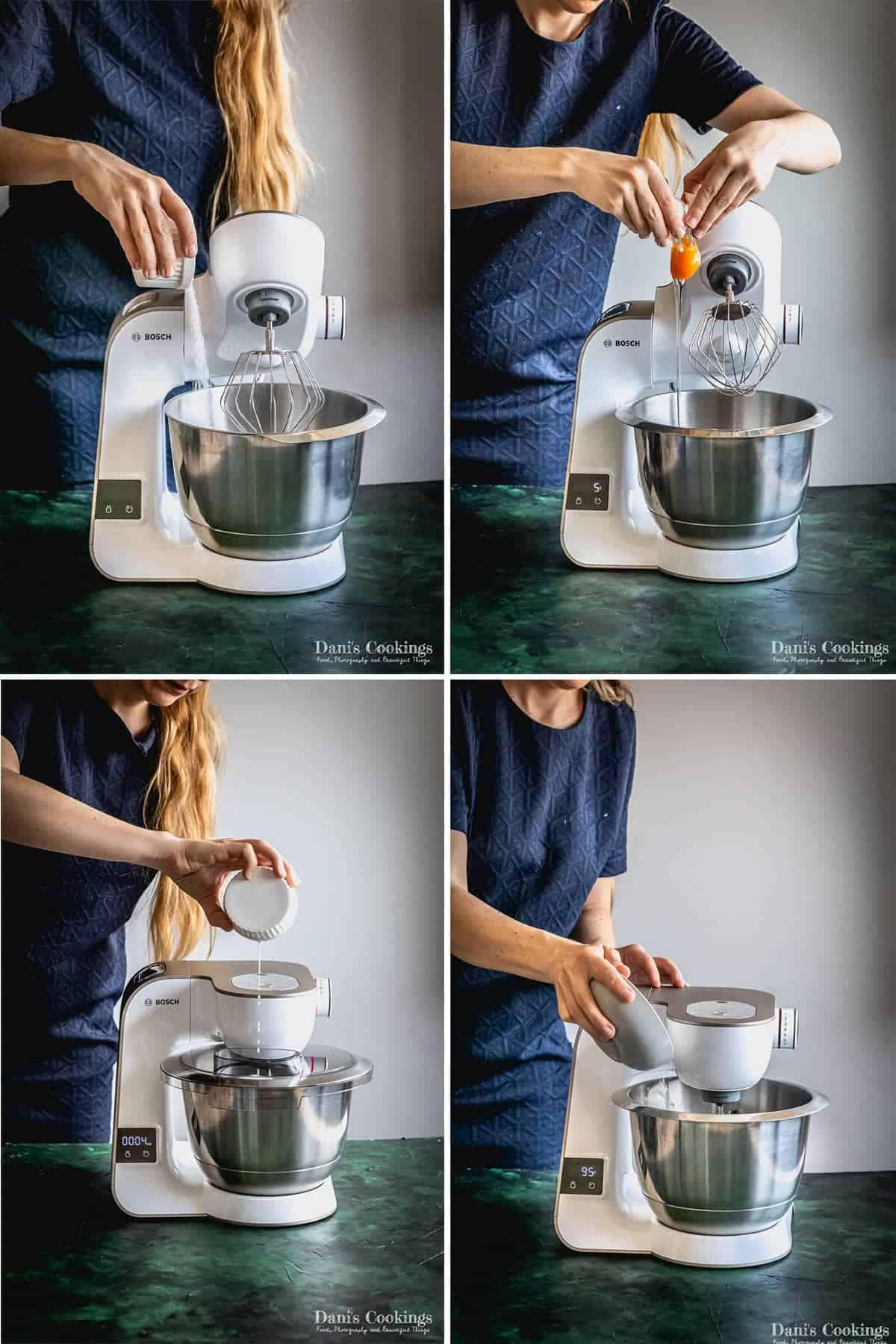a woman adding ingredients to a mixer in four steps