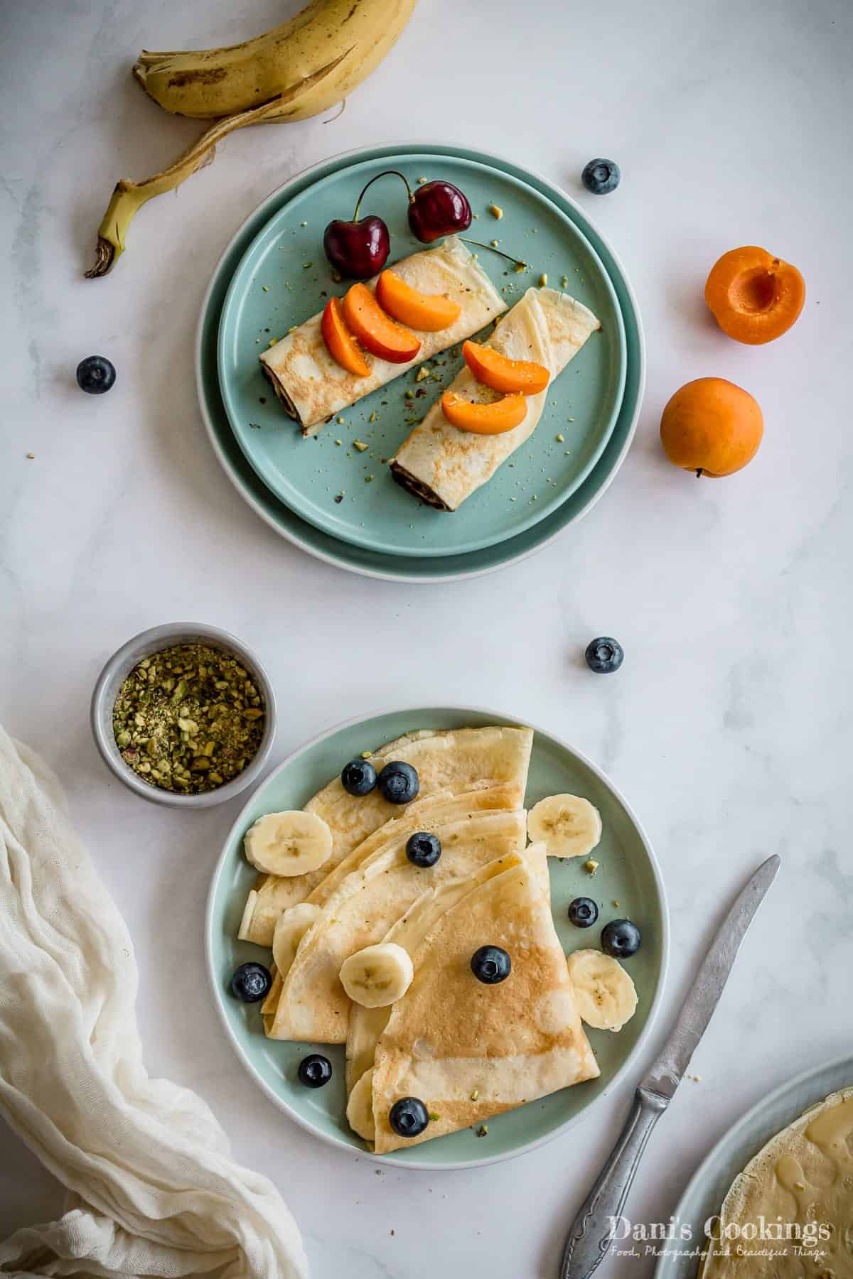 folded and rolled crepes flat lay